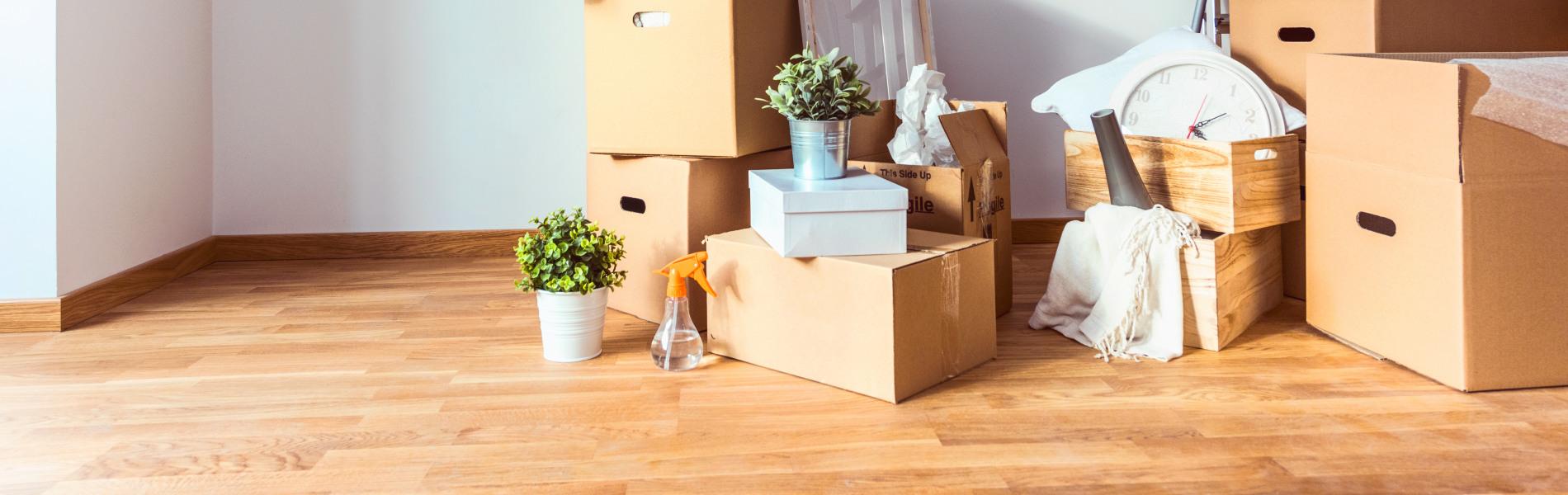 Cartons de déménagement dans un nouvel appartement