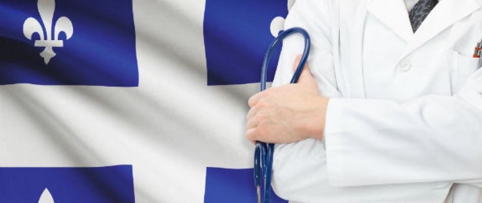Drapeau du Québec et personnel soignant